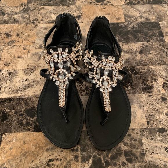 d5c57760df6 Shoe Dazzle Embellished black sandals!